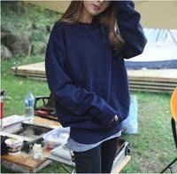 韩国纯色宽松大码女装加绒卫衣女春秋冬套头外套学生棒球服复古潮