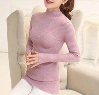 爆款 2015秋季新品韩版修身小香风针织衫高领纯色百搭毛衣