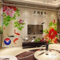 欧诺拉瓷砖背景墙客厅电视背景墙瓷砖牡丹壁画九如九鱼图花开富贵