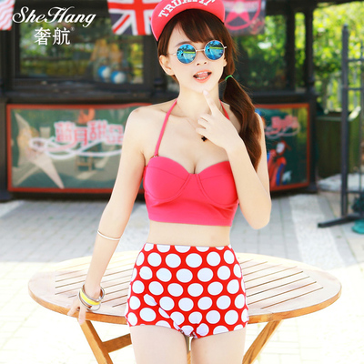 Air extravagant female swimsuit 2014 new European retro wave point small chest gather steel prop sexy waist bikini