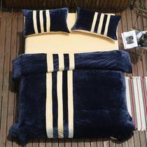 苏奥床上用品韩版 珊瑚绒四件套法莱绒床笠加厚法兰绒四件套包邮