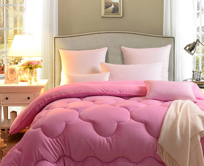 The new pink short plush cotton quilt single double thick cashmere fiber bedding, winter is