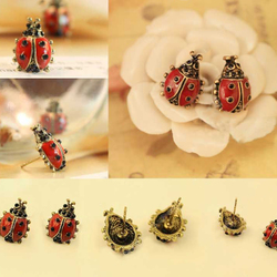 2015 Cute Lovely Little Ladybug Insect Stud Earrings
