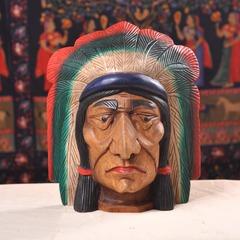 木雕印第安酋长摆件泰国工艺品实木雕刻人物摆件桌面摆设