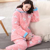 美甘甘秋冬季新款女士加厚法兰绒夹棉睡衣套装 珊瑚绒夹棉家居服