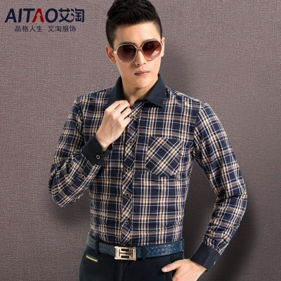 Ai Amoy new winter male taxi velvet thick warm long-sleeved shirt men Slim casual men's plaid shirt