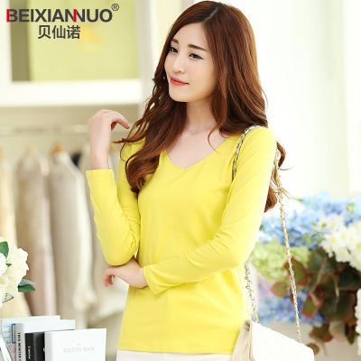 Bei Xiannuo Modal bottoming shirt female autumn and winter solid color V-neck long-sleeved T-shirt Slim wild fashion casual candy-colored