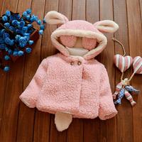 0女宝宝1毛毛大衣女童2棉衣3岁半婴儿童冬季毛绒外套加绒外出衣服