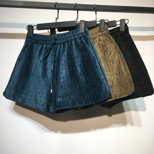 酷酷啦高腰丝绒短裤女秋冬2018宽松阔腿裤子打底外穿靴裤