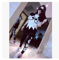 韩国东大门代购2015春装新款棉休闲运动套装套头卫衣长袖两件套女