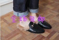 特价促销韩国东大门代购欧美大牌手工鞋金属装饰毛毛鞋拖鞋