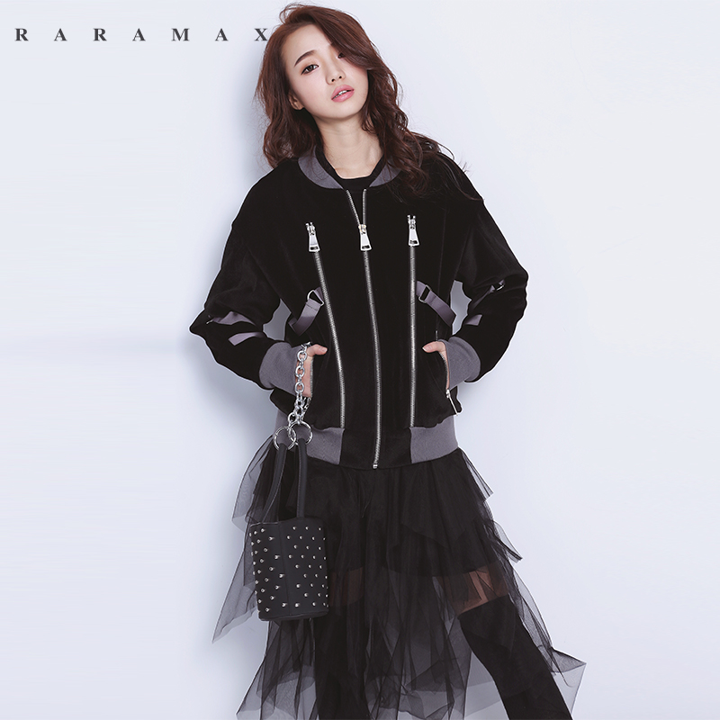 RARAMAX潮流金丝绒机车夹克宽松短款外套女加绒加厚棒球服女秋冬