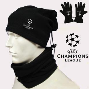 秋冬季户外运动防风防寒抓绒保暖围脖套欧冠足球围脖套手套帽子