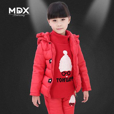 Kids Girls winter coat suit 2014 new Korean children hooded jacket thick three-piece big virgin