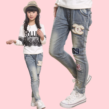 Six children girls 2015 new age season 7 4-5-12 - year - old girl feet pants jeans trousers of 8 of 9 10