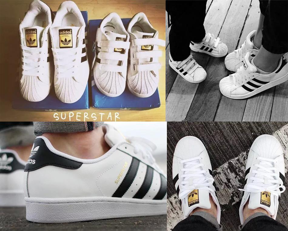 风靡全球SUPERSTAR经典白色金标儿童全家亲子真皮运动波鞋