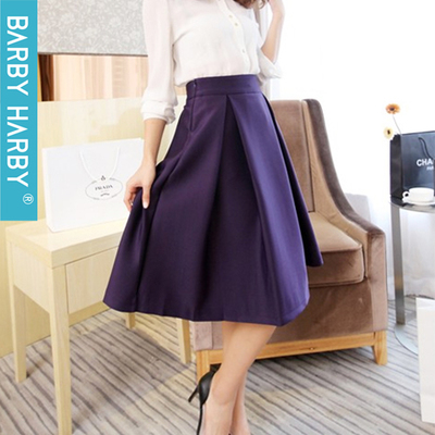 2014 autumn and winter new Korean version of the retro high waist skirts Hepburn in a word was thin dress pleated skirt umbrella