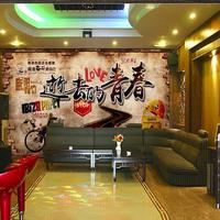 大型复古怀旧壁画80后餐厅酒吧ktv主题咖啡厅壁纸定制致青春墙纸