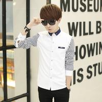 2015春秋男士衬衫韩版修身潮 新款青少年寸衫男学生时尚长袖衬衣