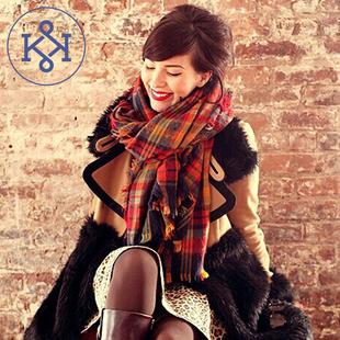 Z家专柜新款彩色格超大围巾女韩版秋冬加厚毛边保暖披肩丝巾包邮
