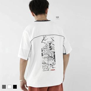 BJHG夏欧美街头宽松弹力麻棉动漫印花蝙蝠袖短袖T恤潮男半袖体恤