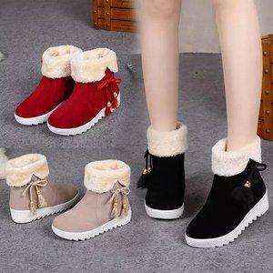 【天天特价】冬季加厚女靴平底短靴平跟短筒棉鞋学生雪地靴保暖靴
