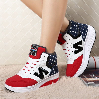 Rain shook a lot of new winter shoes, heavy-bottomed platform shoes women shoes spell color with a warm cotton-padded shoes high-top boots