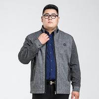 15新款秋装胖子中年夹克男装立领中老年男休闲肥佬男士外套加大码