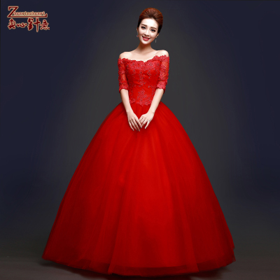 Korean word shoulder sleeve red wedding dress 2014 new autumn and winter bride wedding Qi was thin hunsha