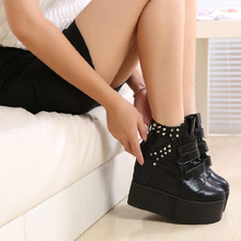 Fall 2014 new tide gold club ladies boots Europe and the United States increased in the nightclub wedges large base platform shoes rivets short boots