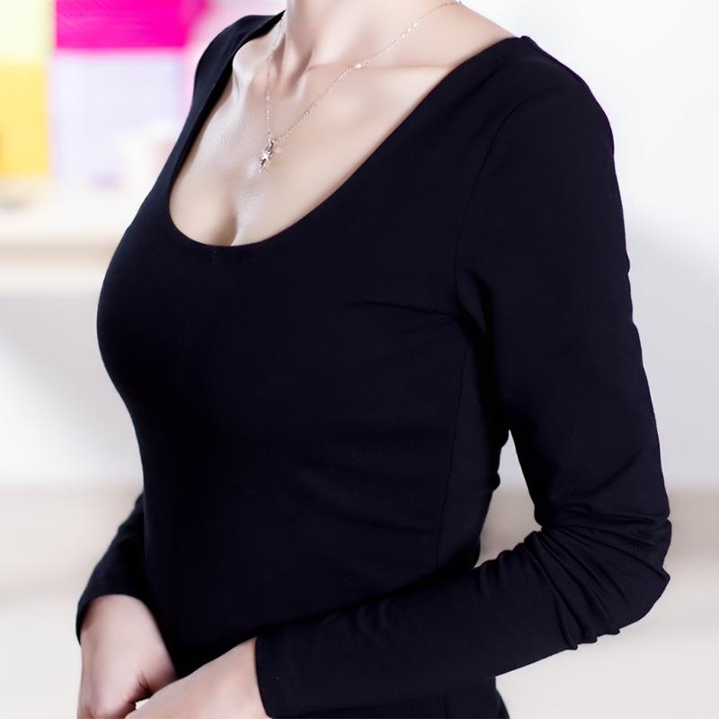 黑色打底衫女冬厚修身短款圆领棉长袖t恤韩版潮秋冬加厚加绒上衣
