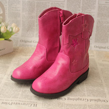 The USA brand qiao le * knights of PU leather fashion girls boots boots side zippers Autumn and winter with the original single foreign trade
