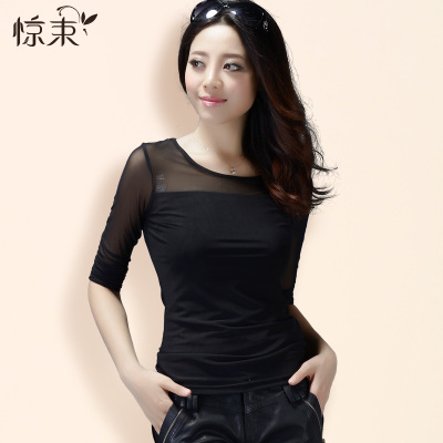 Scared beam black long-sleeved shirt bottoming female Shayi 2014 new autumn big yards hollow mesh t-shirt blouse perspective
