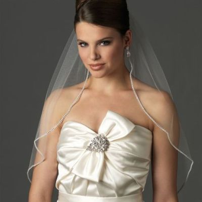 White/Ivory Elbow Length Rhinestone Edge Wedding Veil