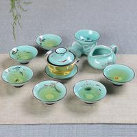 整套青花陶瓷玻璃功夫茶具套装盖碗茶杯品茗红茶杯紫砂冰裂礼盒装