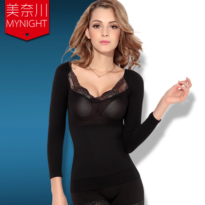 2014 new ultra-thin breathable girly lace long-sleeved body thin waist and abdomen fat burning fever clothes warm clothing