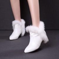 2015女靴加绒冬款雪地靴子秋冬季红色白色加厚中跟性感冬鞋子短靴