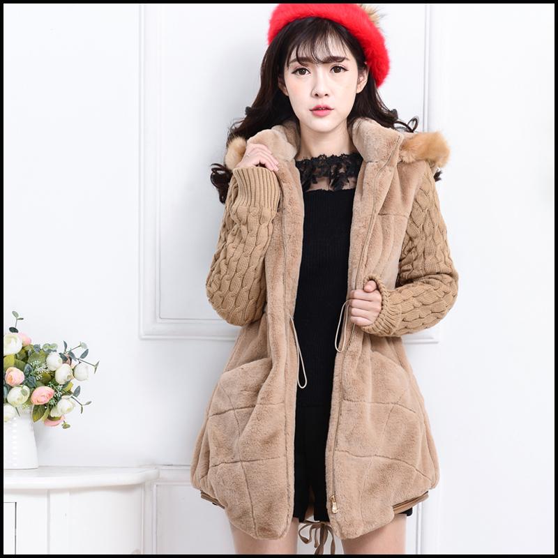 大码女棉衣棉服_冬季女装新款韩版开衫可爱毛毛外套女中长款毛绒外套学生保暖卫衣