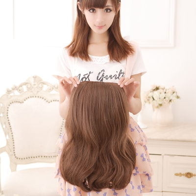 Fshow half wig caps realistic fluffy wig long curly hair wig Girls long half pear head hair