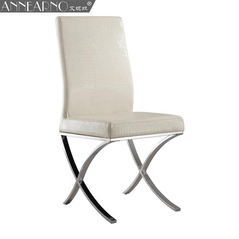 艾妮奴小户型餐椅 韩式简约现代软包皮餐椅 不锈钢白色金属皮餐椅