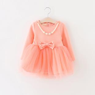 2015冬季儿童新款女童棉T恤裙1-2-3岁宝宝可爱蝴蝶结加厚打底衫