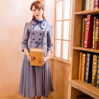 飘 象牙塔 秋装新款复古连衣裙娃娃领蝴蝶结英伦学院修身大摆长裙