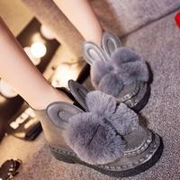 2015秋冬新款兔子耳朵软底鞋蝴蝶结毛毛女靴子短靴棉靴休闲棉鞋潮