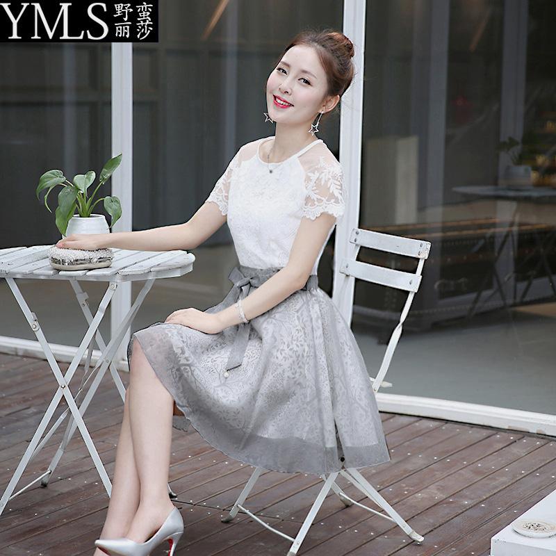 2016欧根纱蕾丝连衣裙半身裙新款夏装女装休闲时尚修身两件套装裙