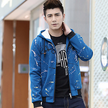 Wry smile men's clothing in the autumn of 2014 with the new men's fleece coat of cultivate one's morality leisure male English letters fleece coat