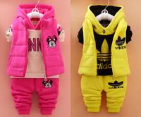 2016女宝宝新款秋冬季卫衣1-2-3-4岁男童加绒加厚童装三件套装潮