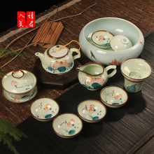 Ceramic kung fu tea set on sale Hand painted blue and white porcelain tea set your kiln of a complete set of tea cups tureen tea to wash the teapot