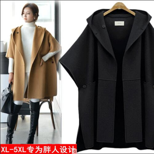 2016 Europe winter women cape wool jacket girls loose coat