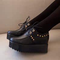 欧美内增高女鞋厚底韩版豹纹松糕鞋系带欧洲站柳钉鞋学生鞋女单鞋