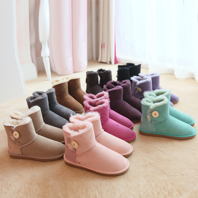 2015新款澳洲3352羊皮毛一体雪地靴短筒保暖纽扣真皮防滑牛筋底